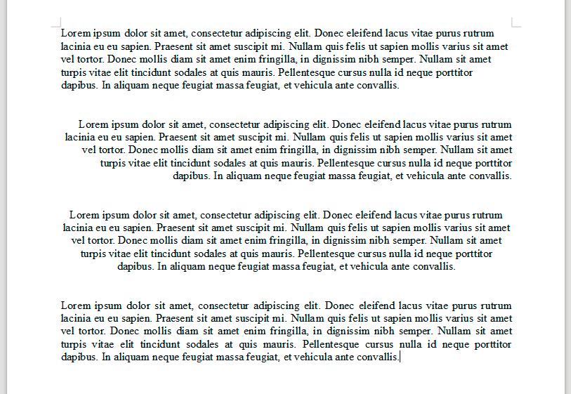 przykłady wyrównania tekstu