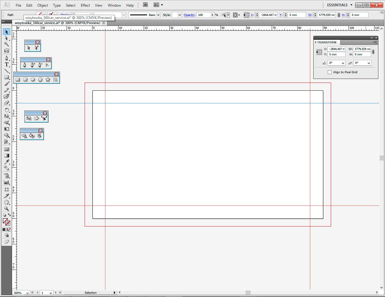 projekt wizytówki - pusty dokument illustrator