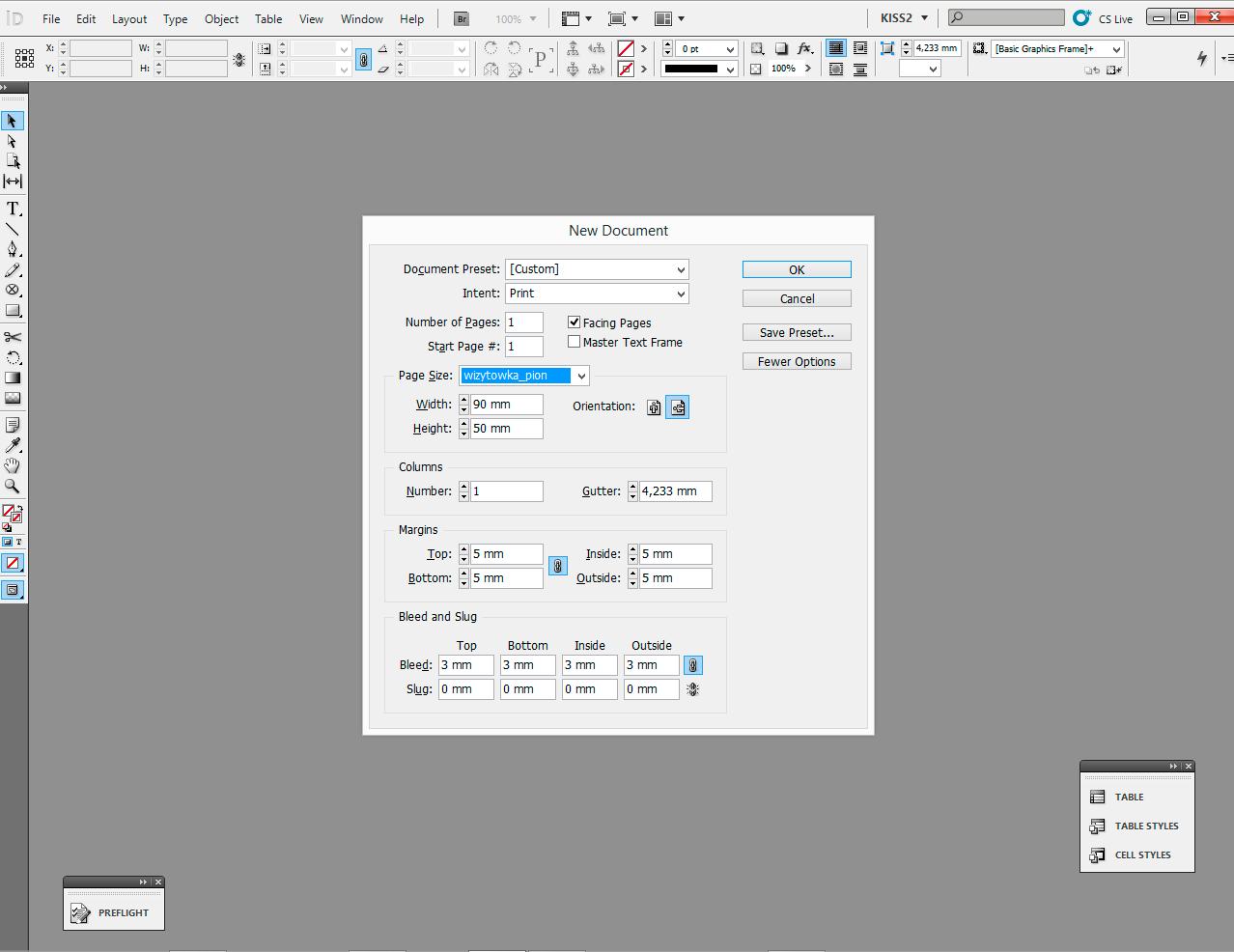 tworzenie dokumentu indesign